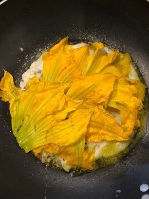 Fresh zucchini flower fried eggs