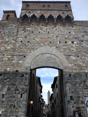 The imposing entry gate to San Gimignano